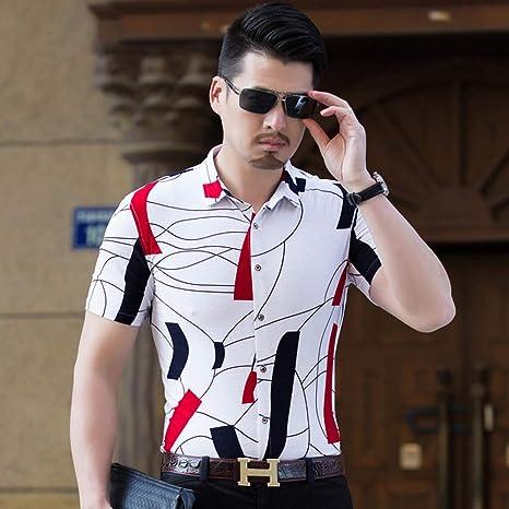 CLZC Camisas de Hombre Camisa de Verano Hombre Tallas Grandes para Hombre Camisa Floral Manga Corta para Hombre Camisas Casual Slim fit,Blanco,4XL: Amazon.es: Deportes y aire libre