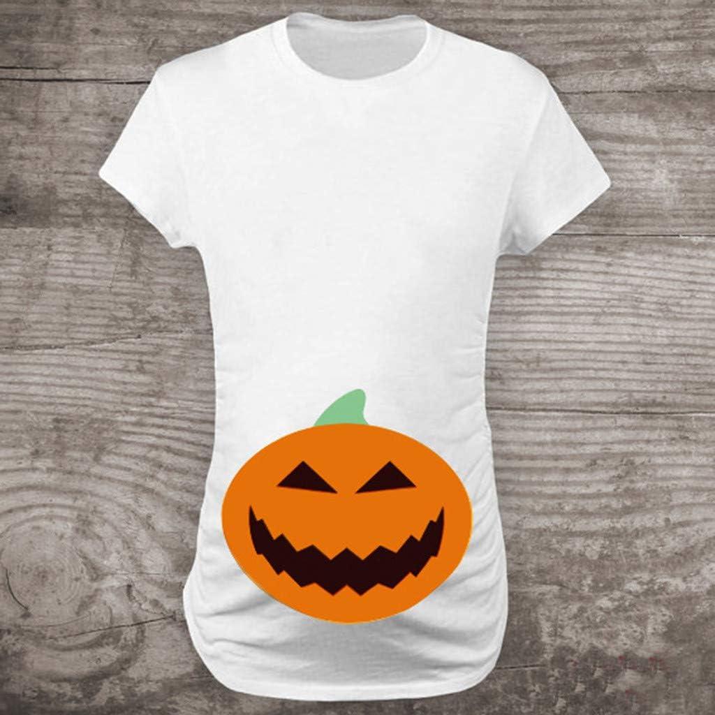 Ashui Halloween Kost/üm Damen Kleid K/ürbis Schwangere Frauen Kleidung Stillshirt Damen Umstandsmode Stilltop Umstandsshirt Casual Umstandsbluse Stillshirt Umstandsmode Damen Stilltop Maternity Shirt
