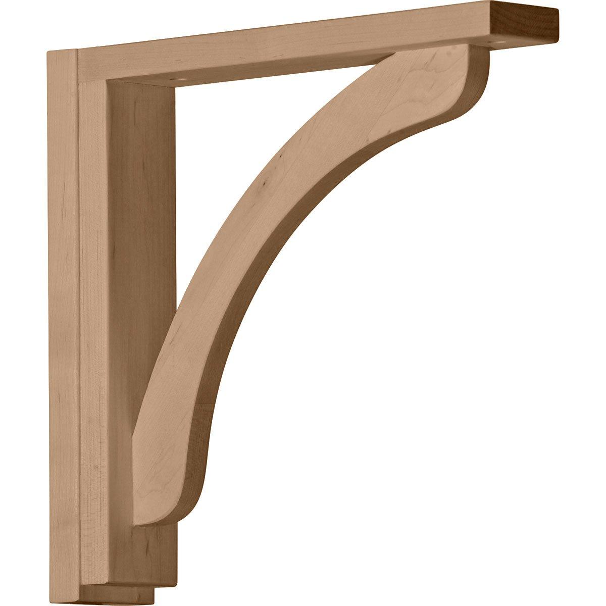 Ekena Millwork BKT02X12X12RERW-CASE-2 2 1/2 inch W x 12 3/4 inch D x 12 1/4 inch H Reece Shelf Bracket, Rubberwood (2-Pack),