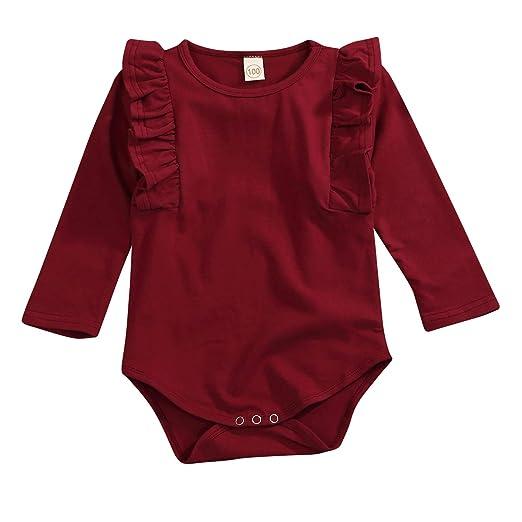 8ae93f138a4 GRNSHTS Newborn Infant Clothes Baby Girls Long Sleeve Ruffles Romper  Jumpsuit (A Wine