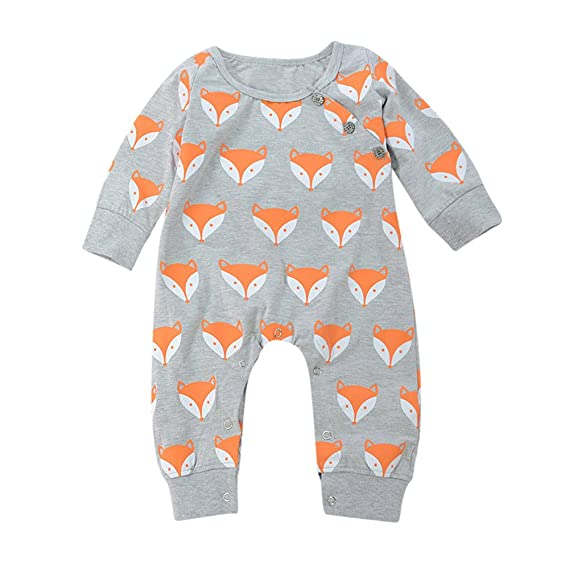 Cute Baby Long Sleeve Romper Newborn Girls Boys Fox Print Cotton Warm Jumpsuit Clothes 0-24 Months