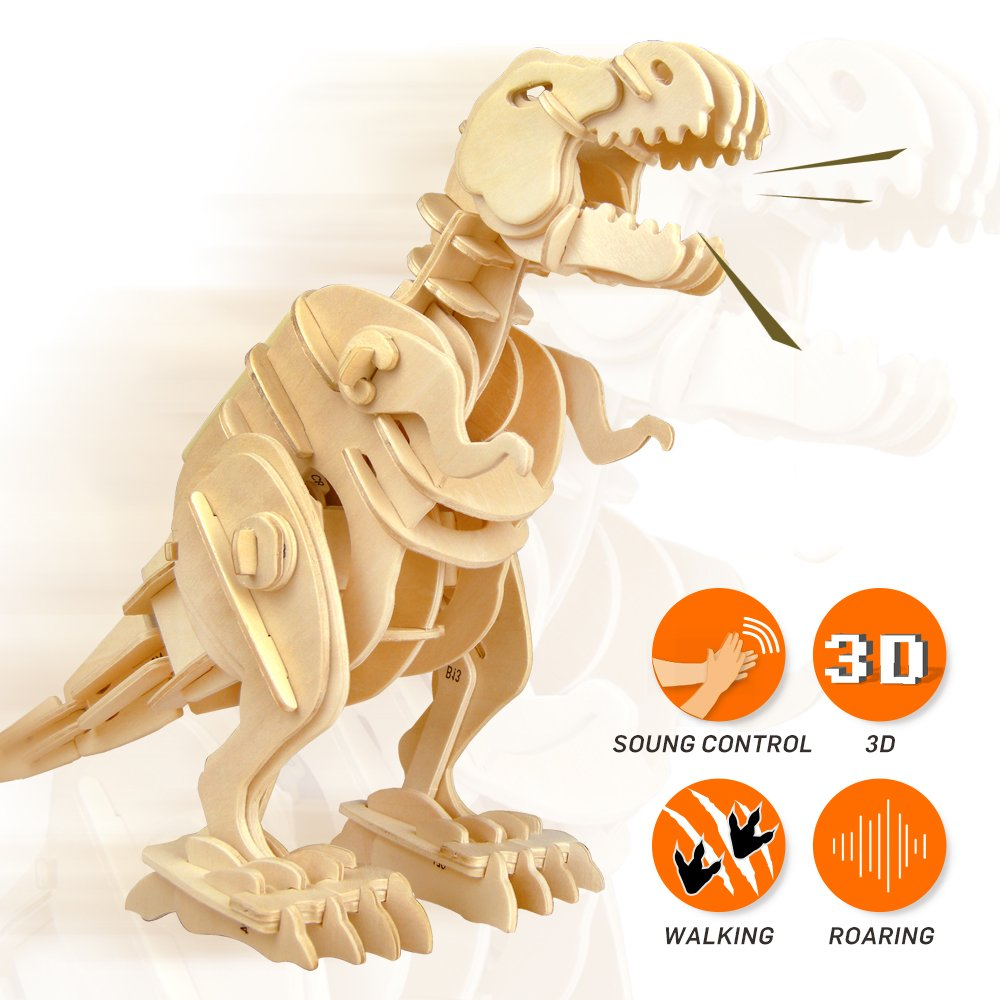 ROBOTIME 3D Wooden Dinosaur Puzzle Sound Control Robot Walking T-Rex Best Birthday Gifts for Boys