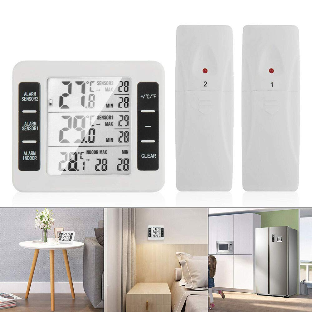 DW007 Fridge Thermometer Indoor Digital Temperature with 2 Wireless Sensor Refrigerator Thermometer with Audible Alarm Min Max Record for Home Restaurants by DW007