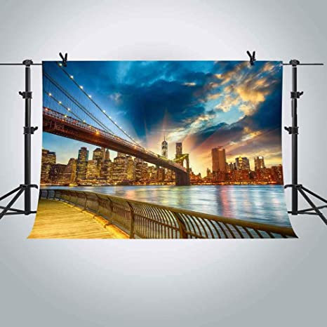 mme 10x7ft new york city brooklyn bridge backdrop sunset sunrise view landmark building background video studio