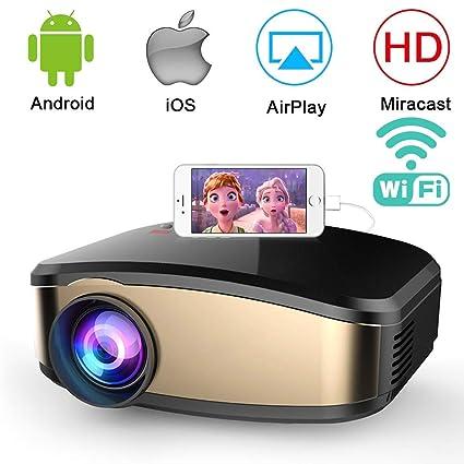 Jasbo - Mini proyector inalámbrico 1080P HD LED proyector de vídeo ...