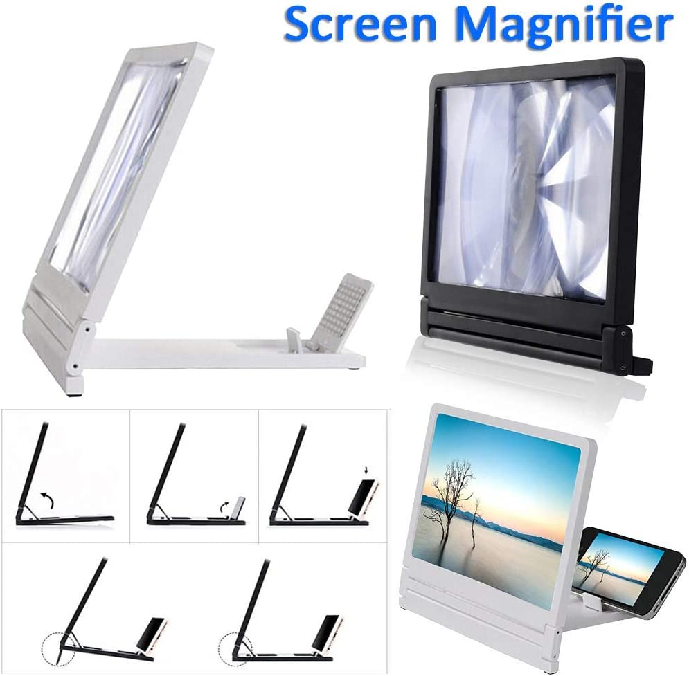 Shhjjpy 3D Screen Magnifier Smartphone Magnifying Glass Stereoscopic Projection Mobile Phone Enlarger Screen Movie Video Amplifier Bracket Desktop Foldable Stand Holder
