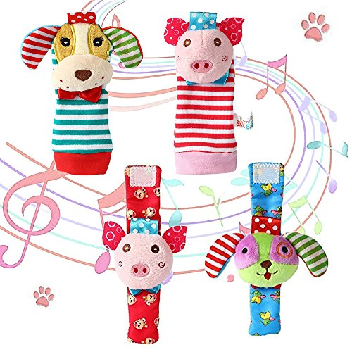 Pig Rattle - Daisy 4PCS Baby Wrist Rattle and Foot Finder Socks Set Development Soft Adorable Animal Rattles Infant Baby Toys - Pig and Dog