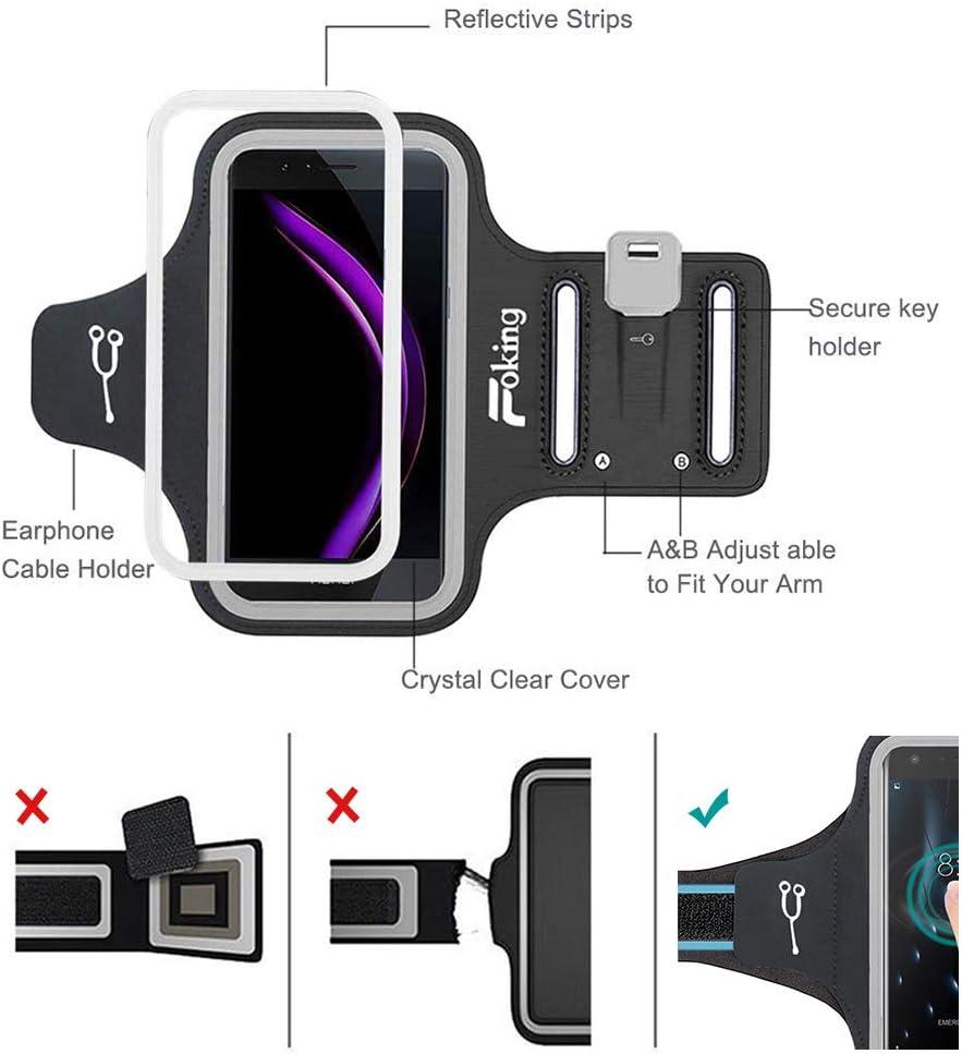 Foking Portacellulare da braccio per corsa 2019 ,Multifunzione 2019 versione migliorata Portacellulare sportivo per Huawei Y6 Pro Design sicuro larghezza regolabile in diverse misure