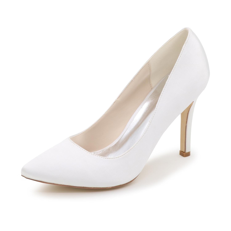 Blanc Elegant high chaussures Talons Hauts pour Femmes F0608-01 Silk Kitten Marié Mariage Party SoiréE Tip Plus De Couleurs Disponibles   43 EU