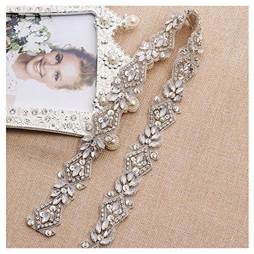 Yanstar Handmade Thin Silver Rhinestone Applique Trim with Iron-On Back for DIY Bridal Wedding Belt Sash Bridesmaid Dress