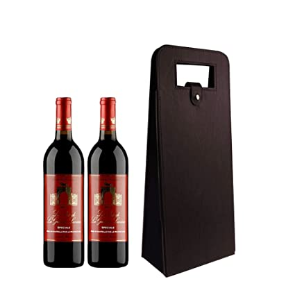 Leather Wine Carrier >> Amazon Com Leather Wine Gift Bags Carrier With Handles Reusable