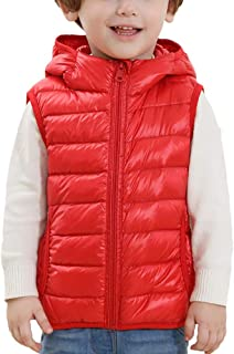 ZhuiKunA Little Kids Autumn Winter Sleeveless Boys Girls Gilets Coat Down Hooded Vest Jacket