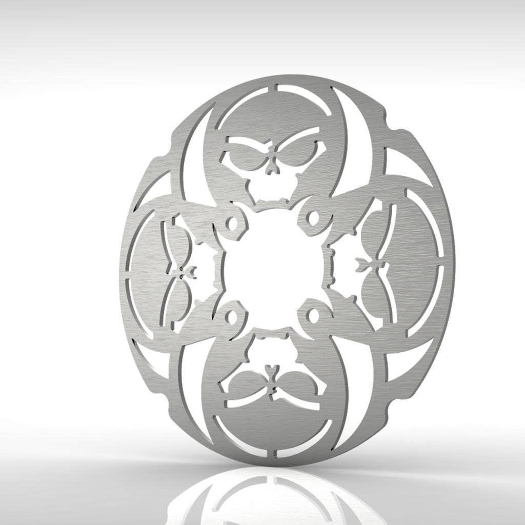 Ferreus Industries Skull Rear Brake Disc Rotor Stainless fits 01-05 Yamaha Raptor 660 YFM660R ROT-103-08-c