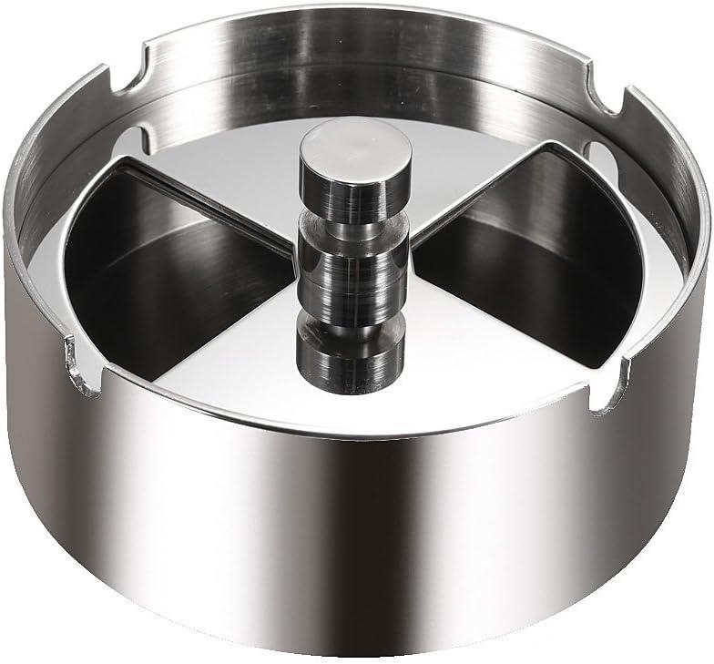 Anself - Cenicero redondo giratorio de acero inoxidable con spinning anti-viento ceniza-bandeja