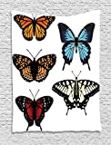 XHFITCLtd Swallowtail Butterfly Tapestry, Five Different Butterflies Colorful Monarch Lady Insect Wings Spring, Wall Hanging for Bedroom Living Room Dorm, 60 W X 80 L Inches, Multicolor
