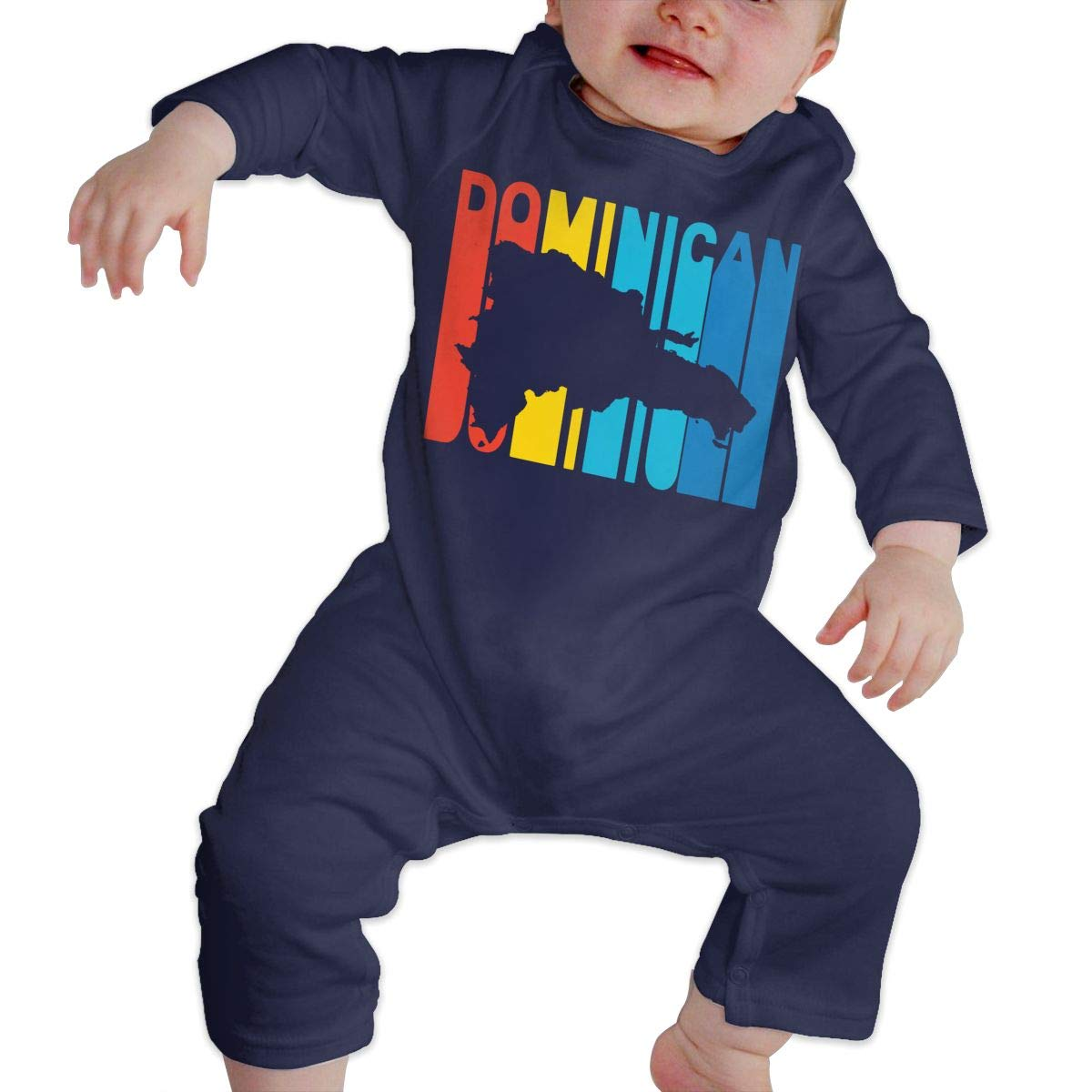 LBJQ8 Dominican Retro 1970s Style Infant Baby Girl Boys Organic Cotton Bodysuit Outfits Clothes