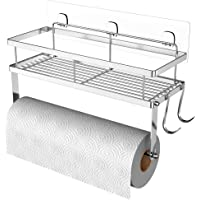 ESOW Paper Towel Holder with Shelf Storage, Adhesive Wall Mount 2-in-1 Basket Organizer for Kitchen & Bathroom, Durable…