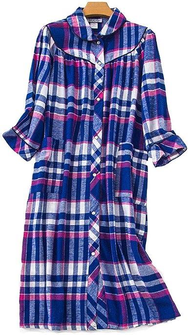 Pijamas Mujer Algodón 3/4 Manga Larga Camisón Loose Pijamas Camisa de Dormir con Botones Nightshirt Shirt Sleepwear Talla Grande S-5XL