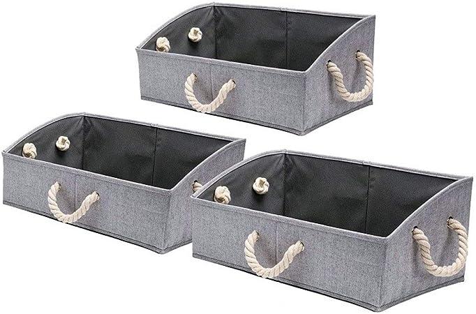 Caja Almacenamiento, Tela Cestas Almacenamiento Plegable Armario Organizador Trapecio Almacenamiento, Estilo Bambú Gris - [3 Paquetes]: Amazon.es: Hogar