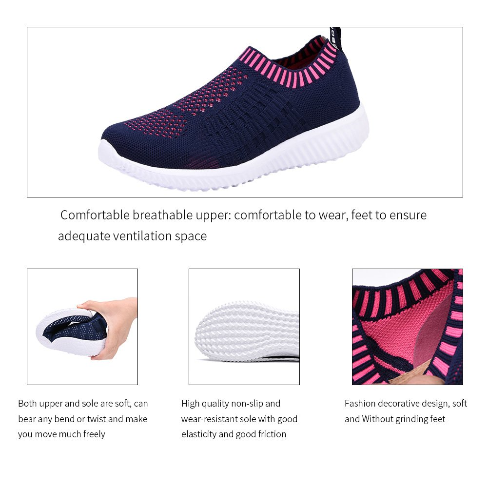 KONHILL Women's Lightweight Casual Walking Athletic Shoes Breathable Mesh Running Slip-on Sneakers B07DNPDKR2 10.5 B(M) US|6701 Rosy