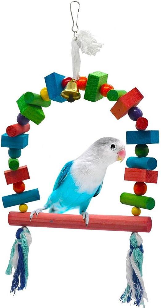 Lelestar Loro juguete mascotas pájaro Escalera de madera Escalada Papagayo periquitos Periquito cacatúas jaula Hamaca Columpio juguete Distressed M/L: Amazon.es: Productos para mascotas