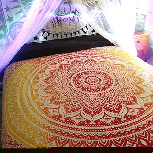 Red Yellow ombre tapestry Orange Ombre Tapestry Mandala Tapestry Wall Hanging Hippie Tapestry Dorm Decor Bohemian Bedspread Bed Cover Bedding Beach Blanket Psychedelic Tapestry ()
