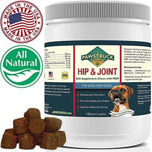 Natural Hip and Joint Supplement for Dogs in Bulk - Soft Chew Pain Relief & Prevention, Glucosamine For Dogs w/ Chondroitin & MSM for Healthy Canines, Made in USA (Large & Giant Dogs - 150 Count) by Pawstruck (Image #9)