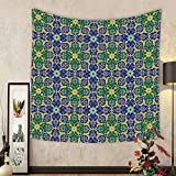 Gzhihine Custom tapestry Arabian Decor Tapestry Oriental Pattern with Damask Arabesque and Floral Elements Classical Islamic Art Motifs Bedroom Living Room Dorm Decor 60 x 80 Green White