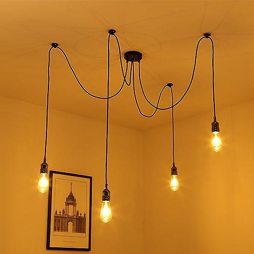 Lámpara Colgante Vintage, Elfeland® E27 4 Luces Lámpara de Techo Retro Industrial con Altura Ajustable Lámpara Colgante con Cable Textil de 3 Núcleos ...