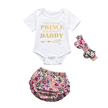 a2f50a901446a FEITONG 3pcs Newborn Toddler Baby Girls Letter Romper Daddy s Princess+Shorts+Headband  Set Outfit