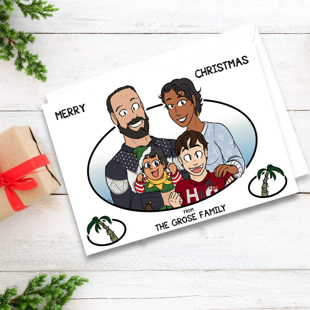Custom Cartoon Family Christmas Cards - Hand Drawn Caricature - Unique Funny Drawing For Grandparents