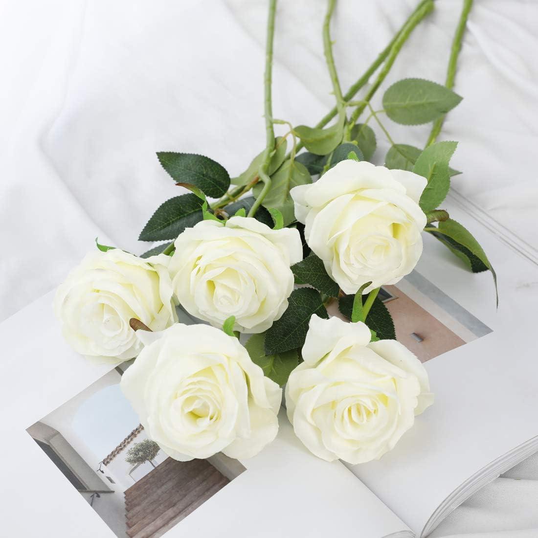 Veryhome 10 pi/èces Artificielle Roses Fleurs De Soie Faux Bouquets Floraux pour La D/écoration De Mariage Maison D/écoration De F/ête danniversaire Jardin D/écor Rose