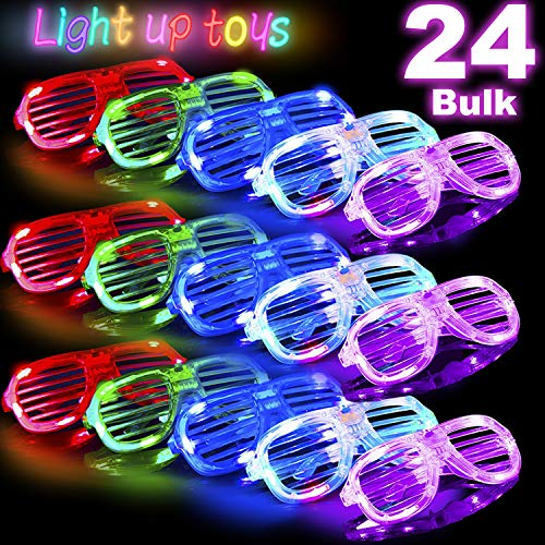 24 Bulk LED Glasses Glow in The Dark Party Favors Light Up Glasses Neon Party Supplies Pack 6 Color LED Sunglasses Shutter Shades Flashing Grow Glasses for Kids Adults Dress Up Birthday Holiday Gift