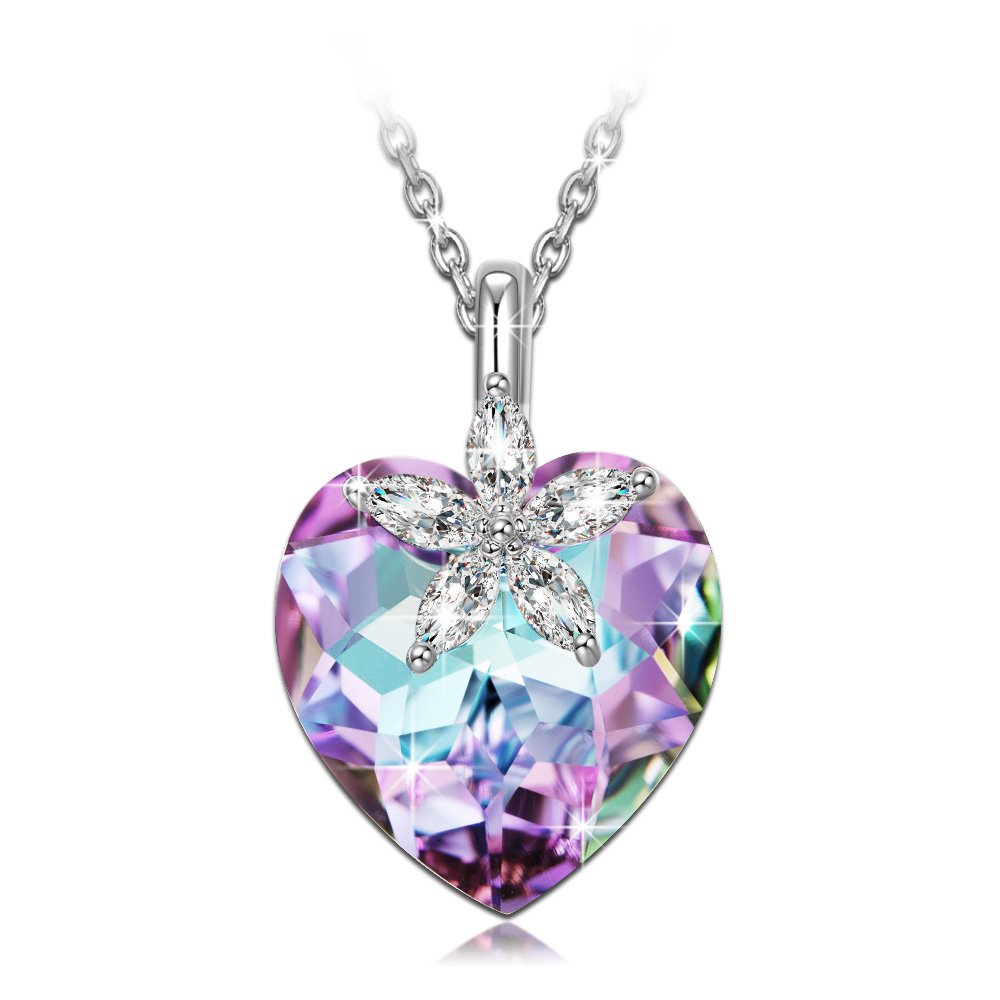 NINASUN Gifts for Women Necklace Bauhinia Blossom s925 Sterling Silver Pendant Necklace Swarovski Crystal Heart Jewelry for Women Anniversary Gifts Birthday Gifts from for Wife Girlfriend Grandmother