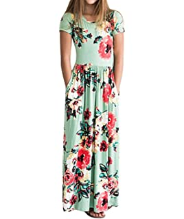 6ebbad9024 Fashspo Girl s Summer Maxi Dress Short Sleeve Floral Casual Printed Empire  Waist Long Party Dress with
