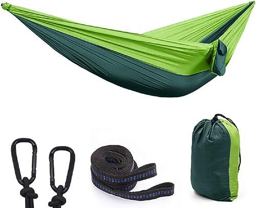 Camping Hammock, Portable Parachute Hammocks for Outdoor Hiking Travel Backpacking 210D Nylon Swing for Backyard Garden 118 L X 78 W Hammocks-4-5-lv lv