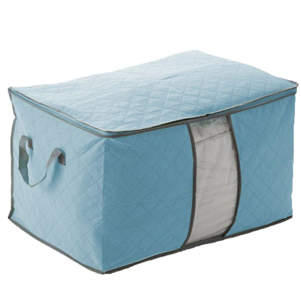 Chinatera Clothes Quilt Bedding Duvet Zipped Handles Laundry Pillows Storage Bag Box (Blue)
