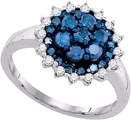 10kt White Gold Womens Round Blue Color Enhanced Diamond Cluster Ring 16 Cttw
