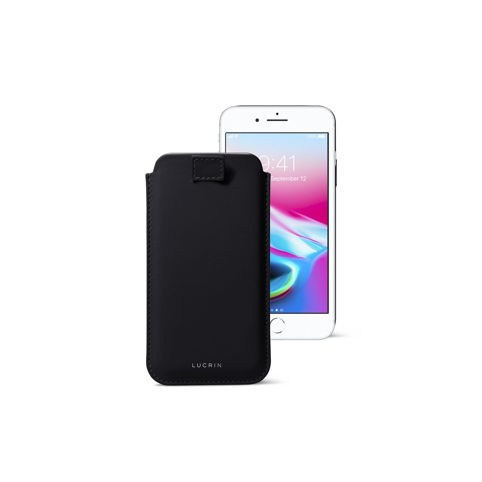 Lucrin - iPhone 8/7/ 6 Ultra Slim Compatible Sleeve, Protective Soft Case with Pull-Up Strap - Black - Genuine Leather by Lucrin
