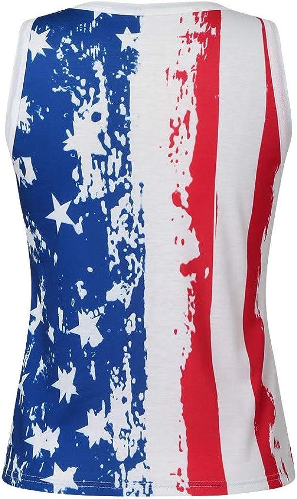 Winsummer American Flag Print Tank Tops Women USA Stars Stripes Patriotic Sleeveless T Shirt Summer Casual Vest Blouse