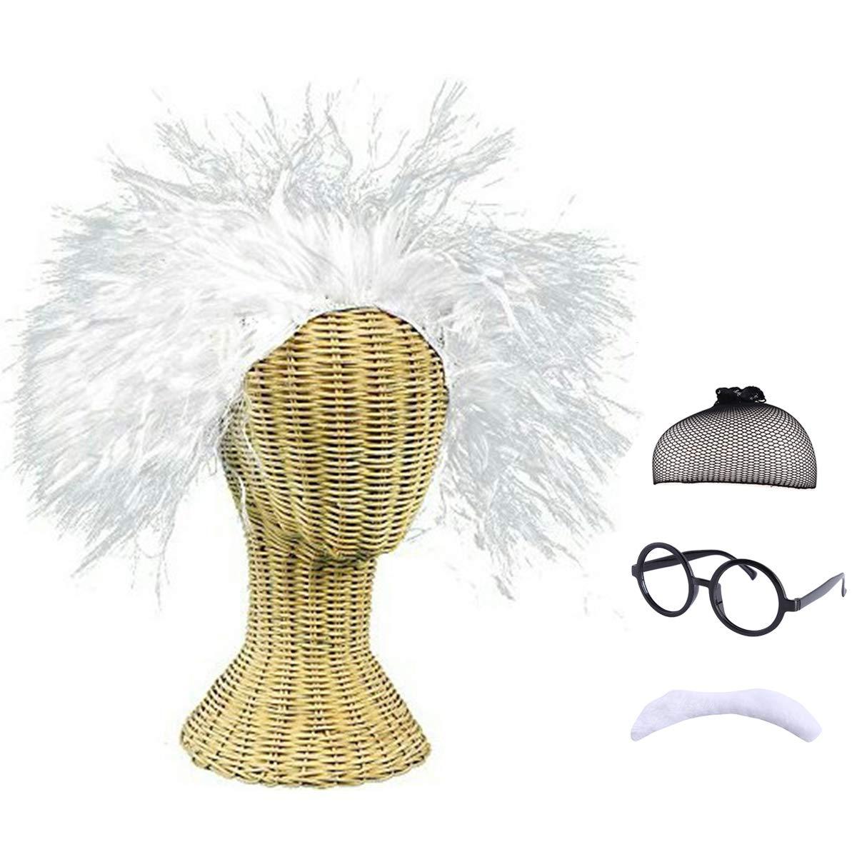 Old Man Mad Scientist Costume Albert Einstein/Ben Benjamin Franklin Cosplay Wig Crazy White Wig Mustache, 4 Pieces Set by CAMTOP