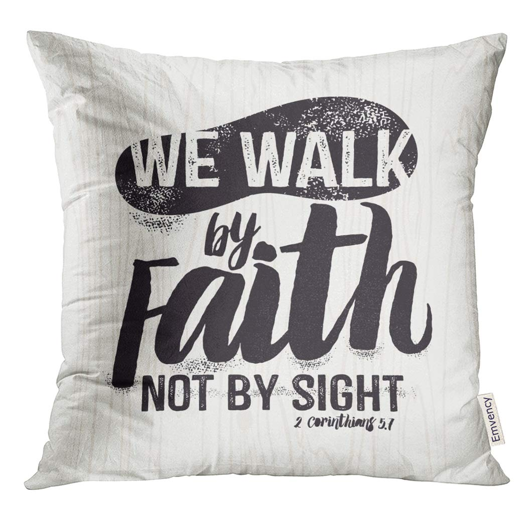 Golee Throw Pillow Cover Scripture Jesus Biblical Christian Lettering We Walk By Faith Not Sight 2 Corinthians 5 7 Quote Bible Decorative Pillow Case Home Decor Square 20x20 Inches Pillowcase