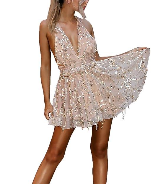 8913c293253f6 Vestiti Donna Estivi Eleganti Paillettes Brillare Senza Schienale Retro Corti  Abito da Cerimonia Tulle Smanicato V Profondo Ragazza Abiti da Sera Vestito  ...