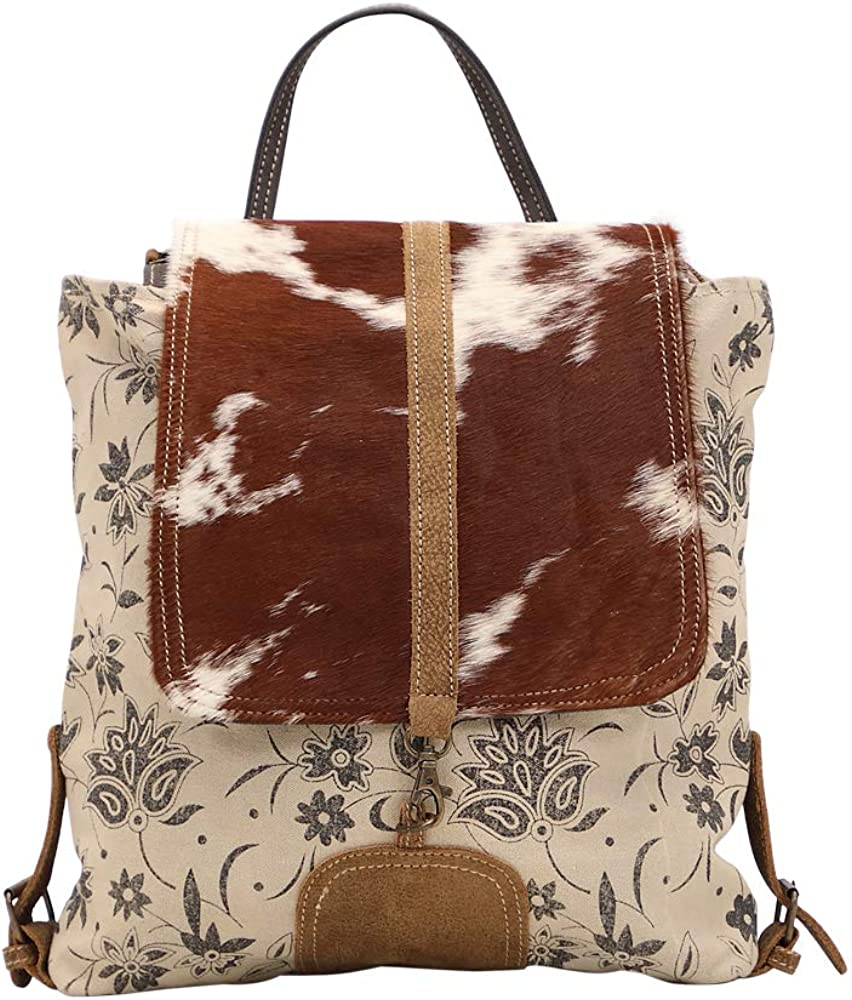 Myra Bag Stalk Upcycled Canvas Cowhide Backpack S-1439