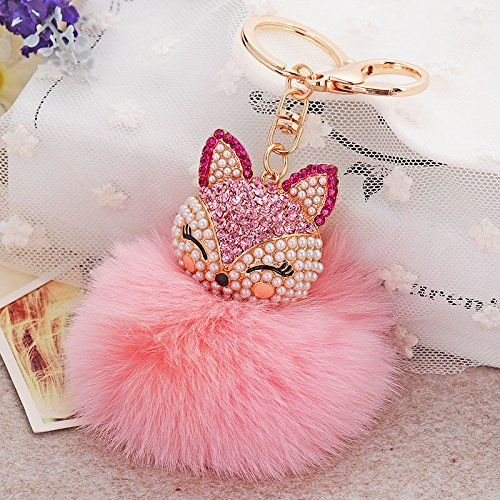 SPHTOEO Real Fox Fur Ball with Artificial Fox Head Inlay Pearl Rhinestone Key Chain for Womens Bag or Cellphone or Car Pendant (Pink)