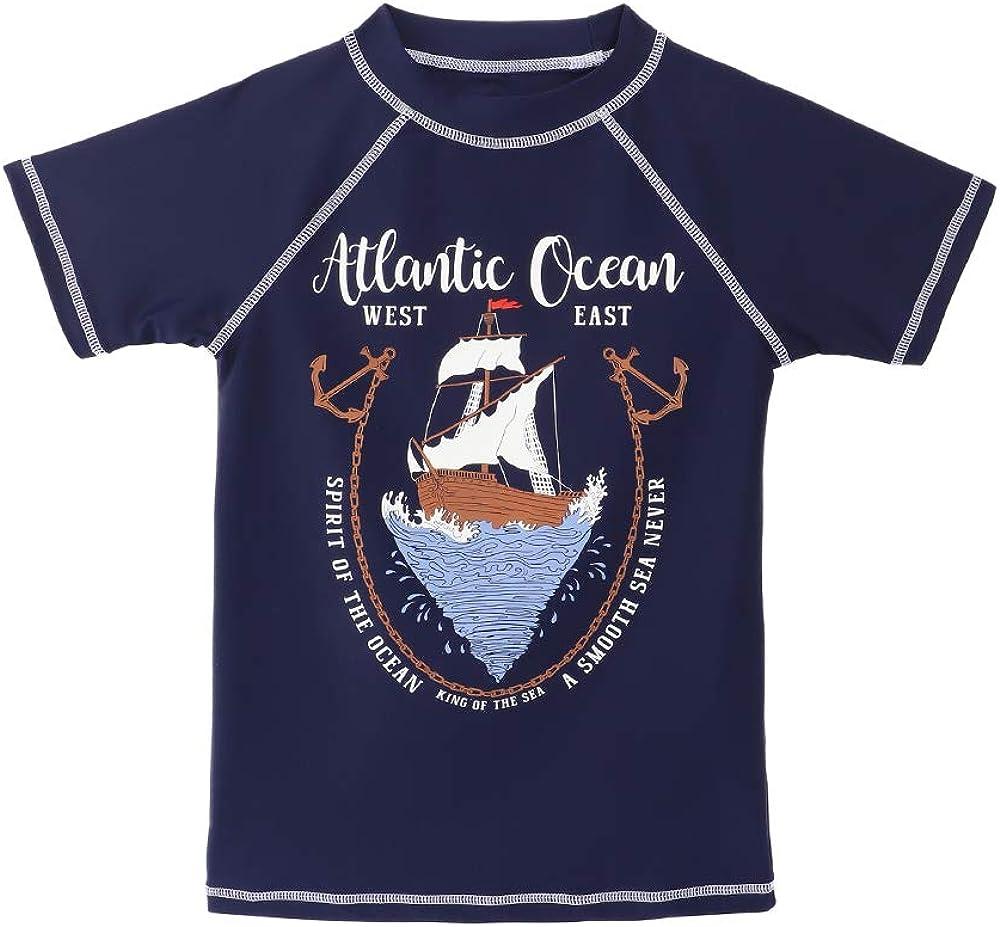 Rashguard para Surf//Nadando//Buceo//Playa TIZAX Camiseta nataci/ón con protecci/ón Solar para ni/ños Traje de ba/ño de Manga Corta UPF50