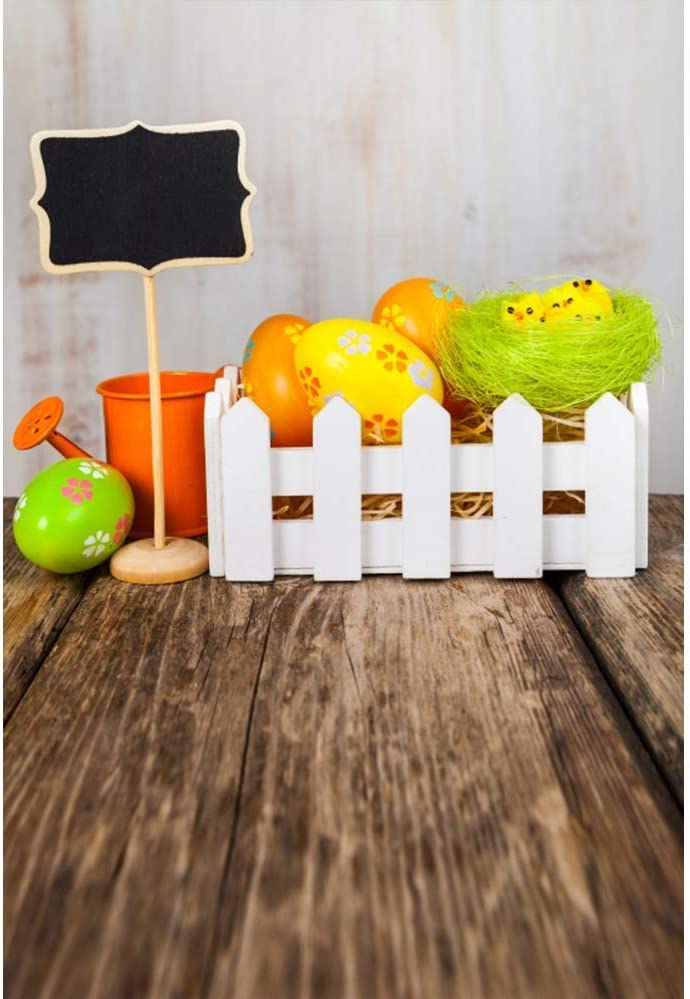 6x8ft Happy Easter Backdrop Easter Eggs Backdrops for Photography Rustic Board Background Shabby Wood Floor Backdrops Kids Children Adults Photo Booth Studio Video Props