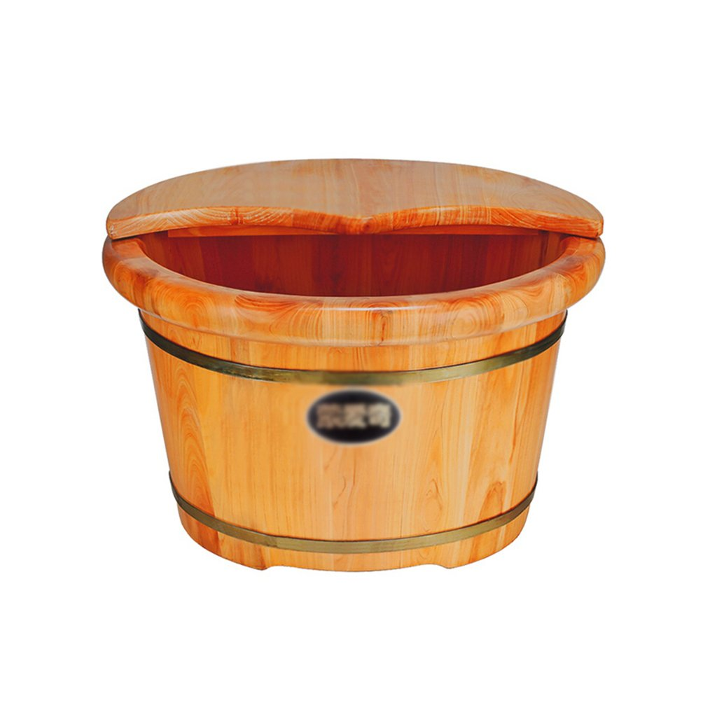 QING MEI 25cm Thick Side With Lid Massage Beads Health Pedicure Barrel Wooden Barrel Foot Bath Barrel Foot Bath Basin Foot Basin Cedar Wood Foot Bath Barrel Foot Bath Tub A++