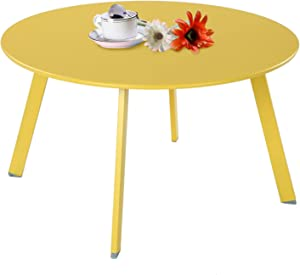Grand Patio Round Steel Patio Coffee Table, Weather Resistant Outdoor Large Side Table, Yellow