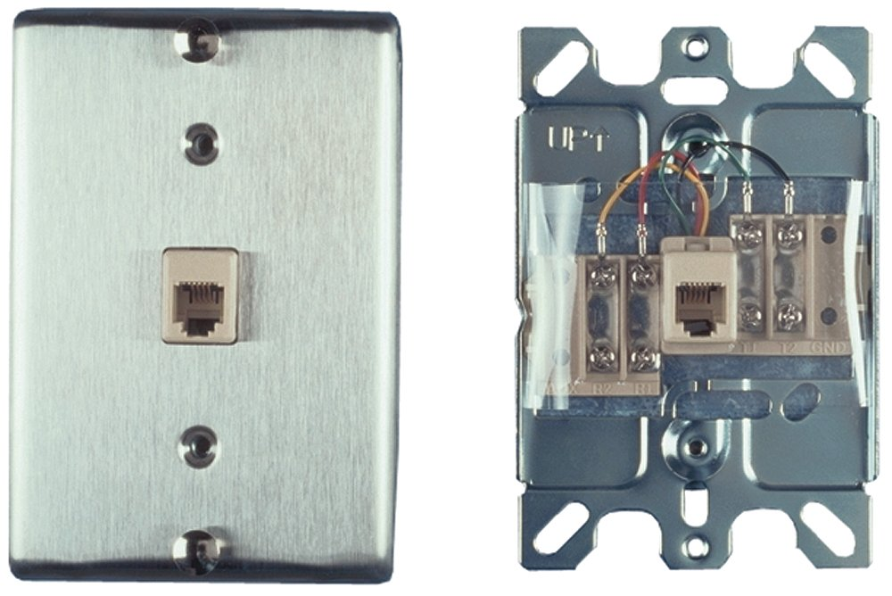 Allen Tel Products AT630A-4 Single Gang, 1 Port, 6 Position, 4 Conductor Wall Telephone Outlet Jack, Stainless Steel